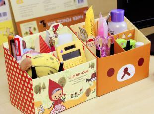桌面收纳盒 韩国可爱diy四格桌面杂物整理盒 桌面化妆品收纳盒,DIY,