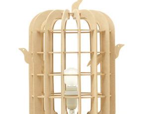 素客 创意木制DIY灯具 简约现代艺术 装饰台灯 可调光 鸟笼灯B款,DIY,