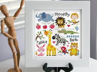 孕妇DIY手工 亲子动漫十字绣 儿童卧室 婴儿宝宝  英文早教园动物,DIY,