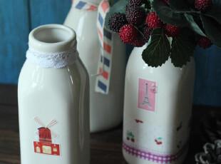 素。复古陶瓷牛奶瓶/储存罐/花瓶 DIY 超值价 zakka~ 大号,DIY,
