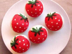 N036 日本麻布半球型红草莓儿童毛衣纽扣扣子专卖批发diy服装辅料,DIY,