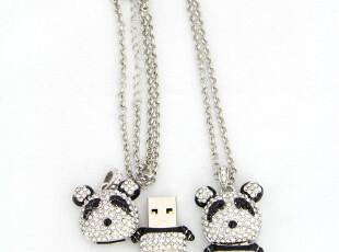 包邮正品 4G足量进口原装芯片 创意熊猫水钻项链U盘 个性优盘礼物,U盘,