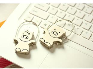 廖好 创意跳绳猪情侣金属钥匙扣U盘4G-女 男款 两款,U盘,