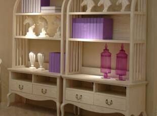 地中海风格家具书橱 美式田园书房书柜 展示柜 置物架仿古白书架,书架,
