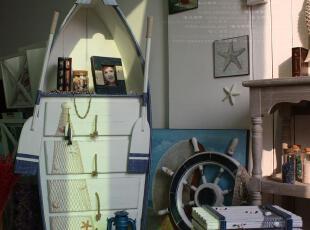唯心饰家欧式地中海落地摆件帆船书柜 装饰收纳储物置物柜带双桨,书架,