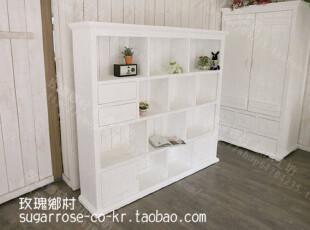 白色情人节-乡村 地中海风格家具 实木书柜/多宝格 白色做旧,书架,