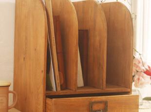 木制 复古做旧桌面收纳柜 文件整理柜 小书柜 zakka风格,书架,
