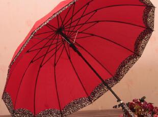 台湾精品 双层接边豹纹蝴蝶结长柄伞 公主伞 大红色 防紫外线,伞,