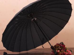 情侣款 大红色 24骨碳纤维皮质柄超轻直杆伞 长柄晴雨伞 赠送伞套,伞,