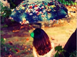 油画花朵全自动伞 欧美复古油画风格 防紫外线雨伞遮阳伞个性美伞,伞,