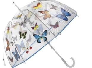 【纽约下城公园】雨天的彩虹 彩蝶飞舞透明长柄雨伞,伞,