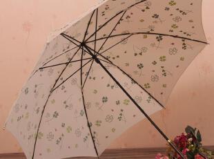 日系风格 甜美四叶草 长柄公主伞 晴雨伞 防晒伞 防紫外线,伞,