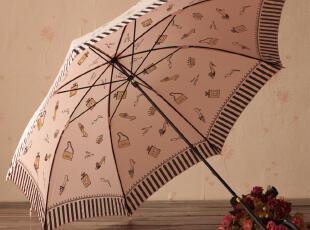 日系 接边条纹 高跟鞋 长柄公主伞 防紫外线 防晒伞,伞,