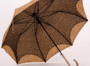 双层豹纹网纱晴雨二用长柄伞 自动伞 双层防晒伞 豹纹伞,伞,