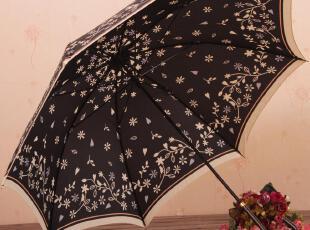 花朵 长柄 公主伞 出口日本 碎花伞 点点伞 黑色 防紫外线 防晒,伞,