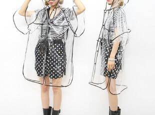 晶至新款 韩版可爱系 黑色包边 连帽短袖宽松款雨衣 抗台风,伞,