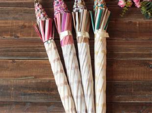 日系美伞 限量发售 接边拼色条纹波点长柄晴雨二用公主伞,伞,