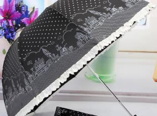 包邮 点点房子涂鸦三折手开晴雨伞 拱形公主伞 防紫外线,伞,