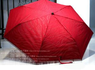 米子家居2012新款 简约式出门必备纯色系三折伞 甜美花边晴雨伞,伞,