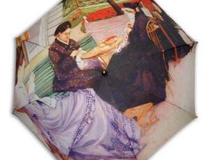 koreashop名画<乡村庭院风景>油画弯钩自动晴雨伞S015,伞,