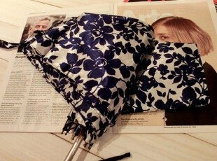 WPC日单 铝合金中棒 缎面青花瓷 超轻便携 单人晴雨伞 深蓝花,伞,