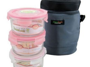【长物志】GlassLock灰色保温包495ml混色圆形保鲜盒3入组,保温袋,