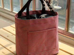 日单 可爱 抽绳 便当包 饭盒包 小拎包 午餐包 条纹包4色入,保温袋,