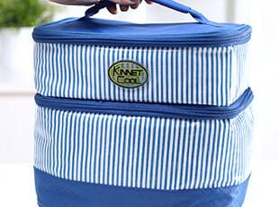 懒角落★户外旅行 双层条纹 饭盒便当包 保冷保温袋 送冰袋 13140,保温袋,