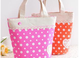 默默爱♥便当袋 可爱帆布波点格子便当包 韩版时尚加厚饭盒袋,保温袋,