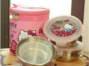 韩国正品Hello kitty 三层不锈钢圆形便当盒 带内隔及粉色保温袋,保温袋,