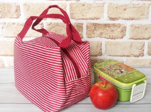 多色入可爱条纹便当包 饭盒包 午餐包 防水布饭盒袋子 手提小拎包,保温袋,