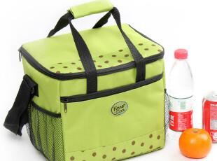 韩国野餐包保温包 方形大号绿色波点便当包 饭盒保温袋冰袋,保温袋,