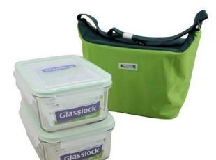 【长物志】GlassLock绿色保温包1100ml方形保鲜盒2入组,保温袋,