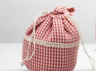 日单红色格子可收口保温袋 束口冷暖便当包,保温袋,