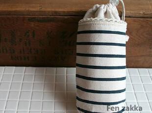 FEN ZAKKA 杂货 棉布条纹保温袋 (蓝色),保温袋,