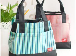 默默爱♥便当包 韩国牛津布 便当袋 可爱方形条纹抽绳手拎 饭盒包,保温袋,