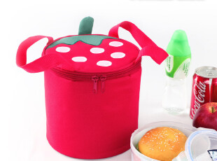 精耐特新品 草莓圆形保温袋 饭盒包 饭盒袋 便当包,保温袋,