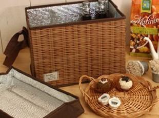 韩国正品代购 便携式藤制野餐保温包/冰包保鲜包 保温包 野餐包,保温袋,