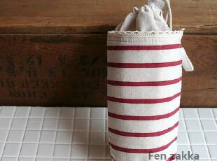 FEN ZAKKA 杂货 棉布条纹保温袋 (红色),保温袋,