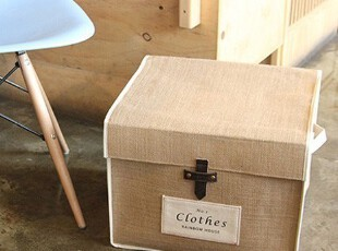 棉麻复古皮扣-四方收纳盒 衣服收纳箱内衣盒 大号有盖 创意宜家,内衣盒,