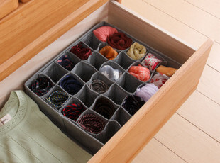 日本MP竹炭袜子收纳盒 内衣收纳箱 小物整理箱 盒30格11L M01107,内衣盒,