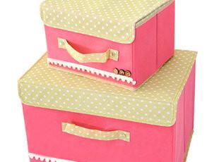 收纳盒 大号 有盖 无纺布内衣收纳 整理箱 韩国收纳箱 一大一小,内衣盒,
