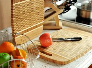 JP3612 尾货 出口美国墨西哥 全竹拼压厨房砧板 两件套蔬果菜板,刀架和砧板,