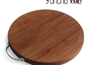 双* 沙比利木菜板案板切菜板面板刀板剁板 ZB3687圆形实木砧板,刀架和砧板,