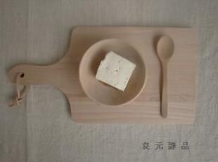 榉木制 把手长方砧板 小面包板 水果板 樱桃logo 小,刀架和砧板,