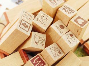 目忆/可爱日记本装饰印章可爱LOVE日记 木制 印章 25枚入,创意礼品,