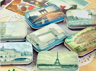 韩国文具 世界风情铁盒 收纳铁皮盒 创意礼品 小物收纳 铁塔,创意礼品,