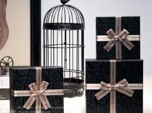 米子家居 高档礼物盒包装盒装饰盒收纳盒 高档蝴蝶结黑色礼品盒,创意礼品,