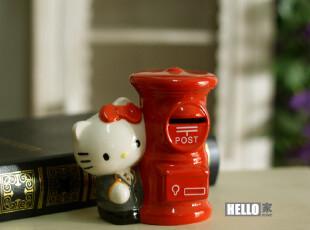 出口外贸陶瓷邮筒储蓄罐 可爱猫咪Hello KT邮筒存钱罐 家居摆设,创意礼品,