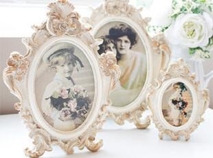 韩国代购家居 优雅华丽的法式米色雕花照片相框 画框,创意礼品,